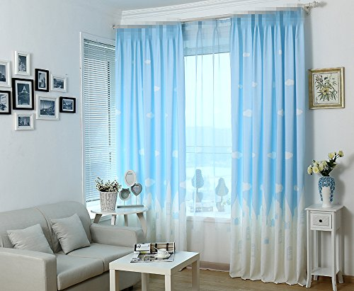 Alifish Window Treatment Curtain Drape Panels Room Darkening Semi Blackout Draperies Curtains Grommet Cloud And Castle Pattern Curtain For Kids Room Bedroom Blue 1 Panel W39 X L63 Inch
