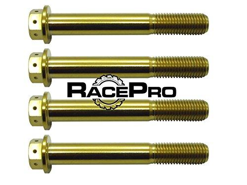RacePro – 4 x pernos de titanio perforados en la carrera de oro, Kawasaki ZX10R 2010