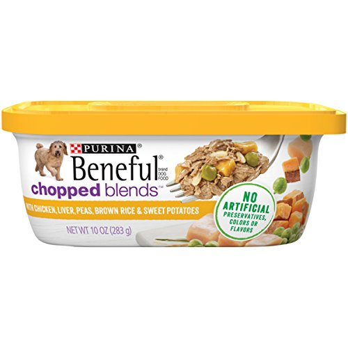 Purina Beneful Chopped Blends with Chicken Liver, Peas, Brown Rice & Sweet Potatoes Wet Dog Food, (8) 10 oz. Tubs Beneful Chicken Food