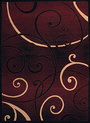 United Weavers of America Dallas Bangles Rug - 1ft. 11in. x 3ft. 3 in, Burgundy Red, Jute Backing Rug with Scrollwork Pattern. Modern Indoor Rugs