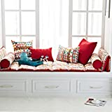 100% cotton Double-sided Bay window Cushion Modern window bench mat sofa mat rug Fold Window sill cushion Luxury retro bay window cushion cover seats living room bedroom balcony mat-C