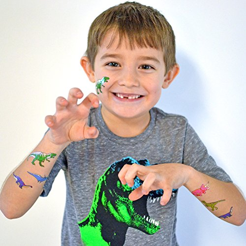 Dinosaur Variety Set includes 25 assorted premium waterproof colorful metallic kids temporary foil Fun Tats by Flash Tattoos, party favor by Flash Tattoos (Image #1)