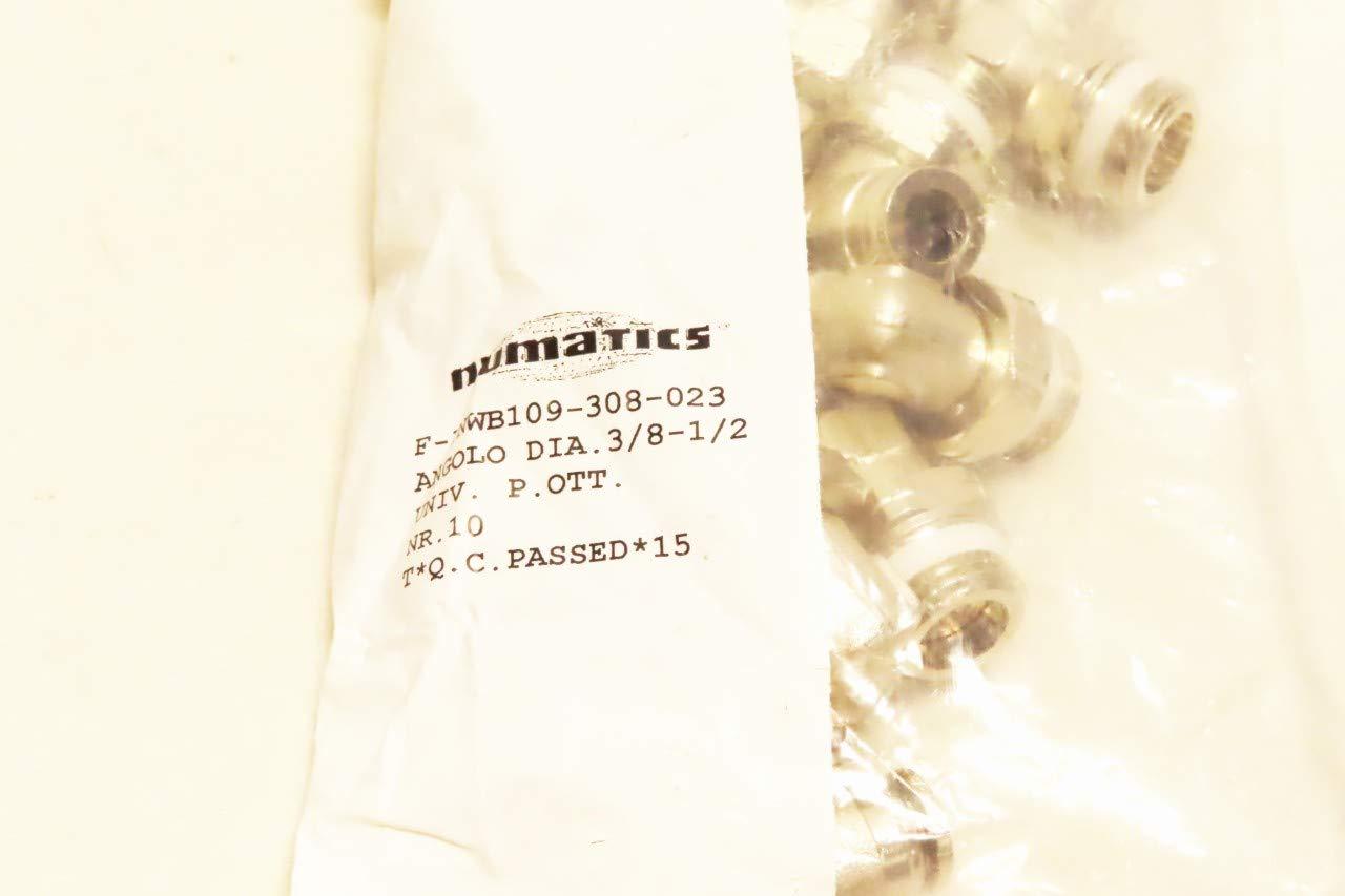 Pack of 10 NUMATICS F-INWB109-308-023 3//8IN Tube 1//2IN NPT Brass Swivel Elbow