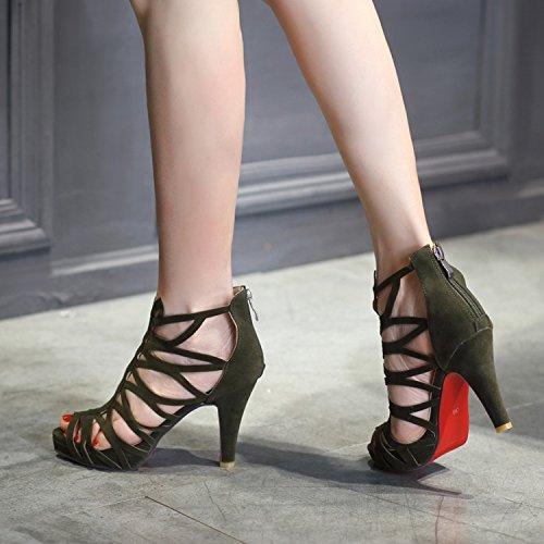 ZHZNVX Été Sculpté Poisson Creux Bouche Chaussures Mode Sauvage Arrière Fermeture à Glissière Mat Sandales à Talons Hauts, Army Green, 39