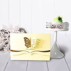 KAZIPA 25PCS Laser Cut Wedding Invitations + White Inside Paper, 4.7'' x 7''Butterfly Invitations for Bridal Shower Quinceanera Favor Birthday Bachelorette Party, Light Yellow