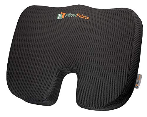 Pillow Palace | Coccyx Orthopedic Seat Cushion | Memory Foam Chair Pillow | Relieves Back, Tailbone, Sciatica Nerve Pain | Premium Comfort For Home, Office, Car or Event Seating (Support Sacral Lumbar Pillow)
