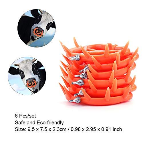 - 6 Pcs Cow Nose Ring,Acogedor Farm Animal Calf Weaner Ring,Non-Toxic,Livestock Equipment