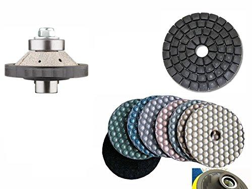 "Bevel / 45 Degree Bullnose E5 (5mm) 3/16"" Diamond Brazed Router Bit Profiler 4 Inch DRY Polishing Pad 9 Pieces Damo Final Glazing Buffing Pad Granite Marble Concrete Terrazzo Stone Travertine"