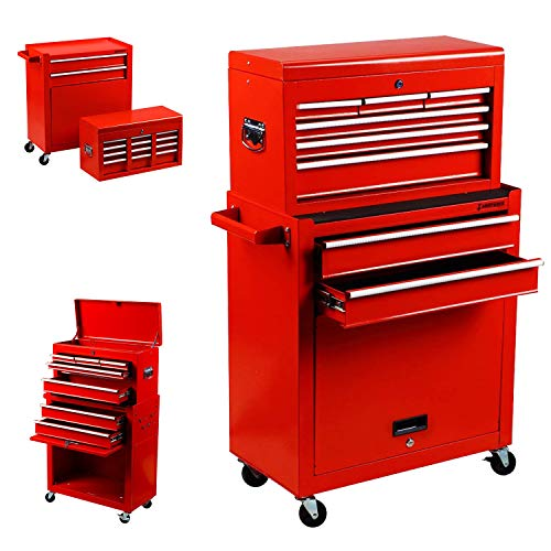 Tool Box Tool Chest Cabinet Portable and Top&Bottom key Locking Storage Toolbox with 4-Wheel(2pc lockable) 6-Sliding Drawer 2 in 1 Rolling Toolbox Organizer, Steel Red ()