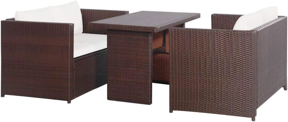 UnfadeMemory Muebles de Jardin Exterior con Cojines,2 Banco Sofá+1 Mesa,Sofás de Jardín Terraza Balcón o Patio,Ratán Sintético,Marco de Acero (Marrón): Amazon.es: Hogar