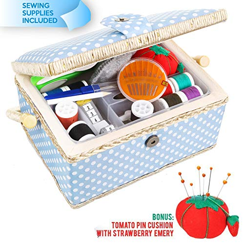 Large Sewing Basket with Accessories Sewing Kit Storage and Organizer with Complete Sewing Tools - Wooden Sewing Box with Removable Tray and Tomato Pincushion for Sewing Mending - Blue - $33.95