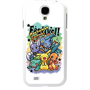 Pokemon Popular Cute Pikachu Samsung Galaxy S4 SIV i9500 TPU Soft Black or White Cases (White)