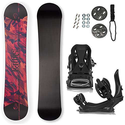 STAUBER Summit Snowboard & Binding Package Size 128, 133, 138, 143, 148,153,158,161- Best All-Terrain, Twin Directional, Hybrid Profile Snowboard & Bindings for All Levels