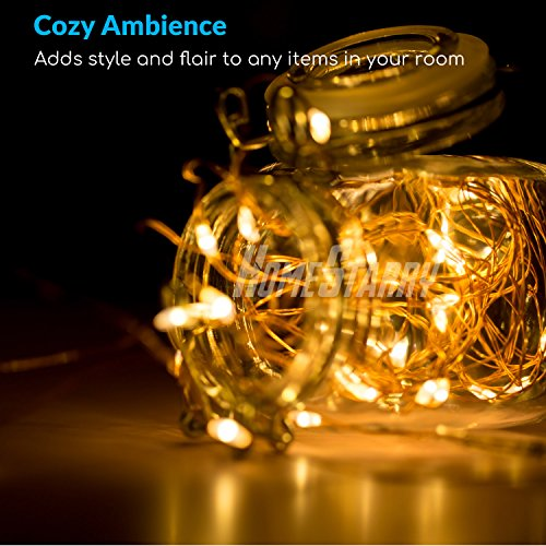 4 Pack Fairy String Lights, Battery Operated Waterproof 8 Modes Remote Control 50 Led 16.4ft Indoor Lights Copper Wire Twinkle Lights for Bedroom Wedding Party Dinner Festival Decor (Warm White) by Homestarry (Image #5)