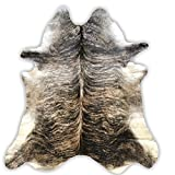 Light Brindle Cowhide Rug | Cowhide Area Rugs by Crown Home Innovations | 100% Natural Leather Rugs (Light Brindle 6′ x7′)