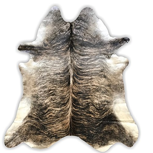 Light Brindle Cowhide Rug | Cowhide Area Rugs by Crown Home Innovations | 100% Natural Leather Rugs (Light Brindle 6' - Western Cowhide Rodeo