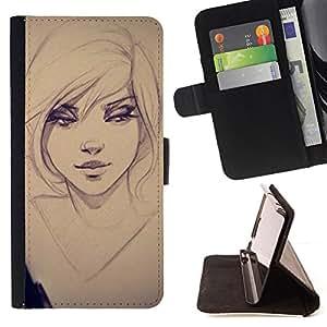 - Queen Pattern FOR Apple Iphone 5C /La identificaci????n del cr????dito ranuras para tarjetas tir????n de la caja Cartera de cuero cubie - sexy girl drawing sketch art eyes portr
