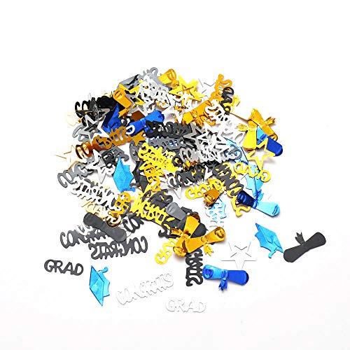 - Graduation Celebration Metallic Confetti Sequins, Hat/Wine Glasses/Star/Grad Letter Confetti for Graduation Party Decor, Blue Gold