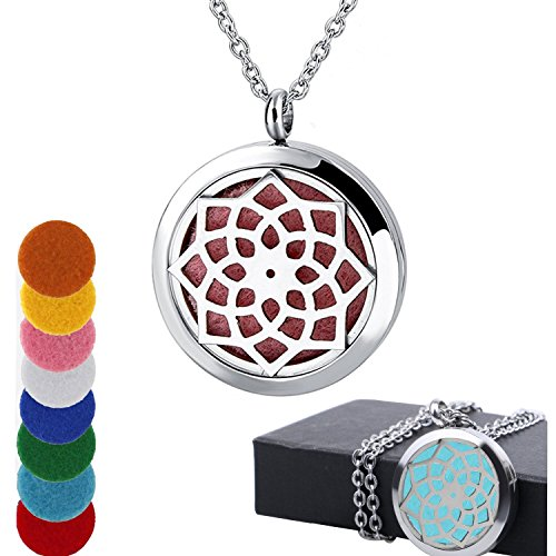 AblerV Fragrance Scented Necklace, Essential Oil Diffuser Necklace Perfume Locket for Girls or Women Gift Set Hypo-Allergenic Surgical Grade Stainless Steel 24 Chain + 8 Felt Pads