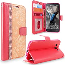 Core Prime / Prevail LTE Case, Cellularvilla [Diamond] [Card Slots] Embossed Flower Design Premium Pu Leather Wallet Flip Case Cover For Samsung Galaxy Core Prime / Prevail LTE G360 (Peach Pink Bling)
