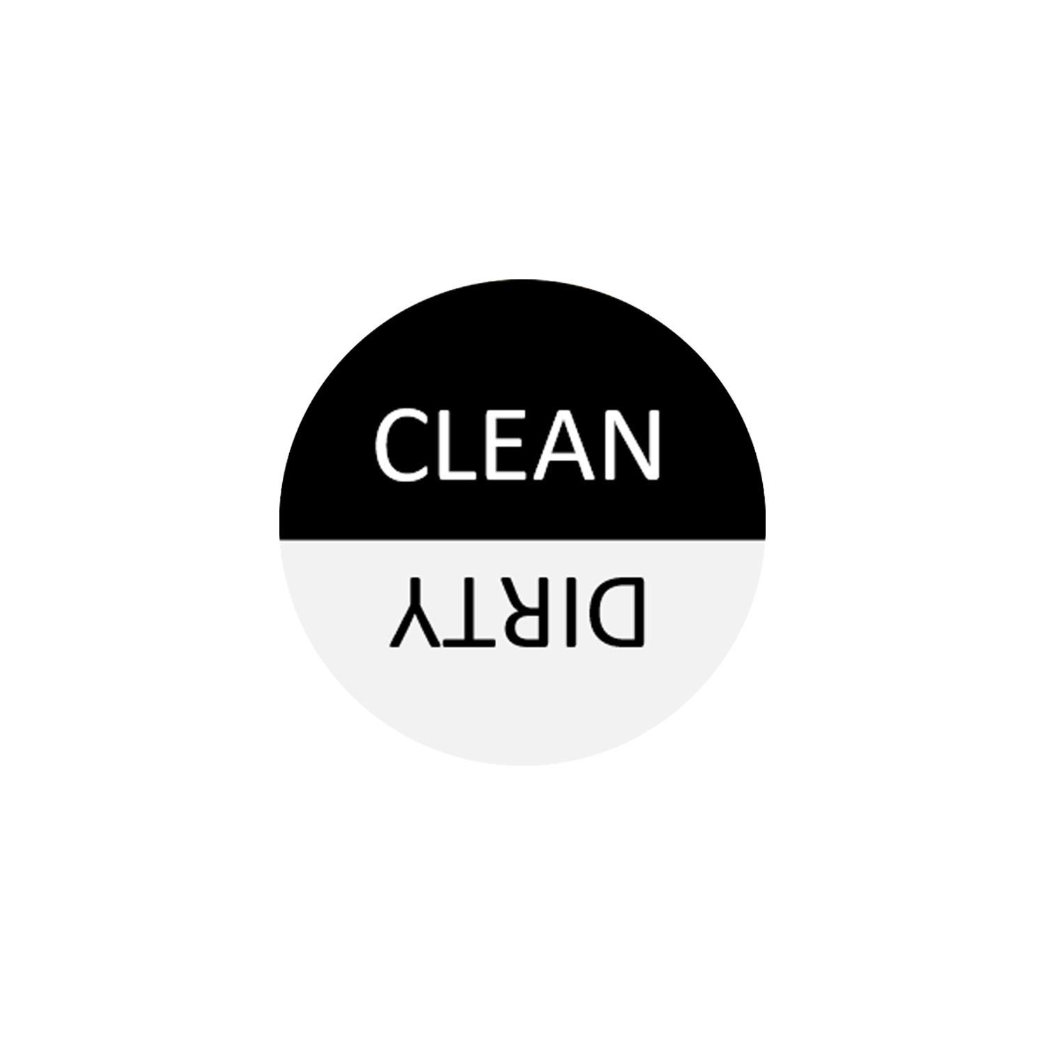 Dishwasher Magnet Clean Dirty Sign - 3 Inch Round Black & White Refrigerator Magnets - Funny Housewarming Gifts by Flexible Magnets