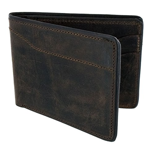 Hanks Bi-Fold Leather Wallet - Holds 8-13 Cards - USA Made, 100-Year Warranty - Vintage Dark Brown