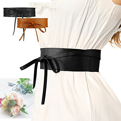 SESY Women's Faux Leather Waist Belt Obi Boho Band Wrap Around Bow Tie for (Obi Bow)