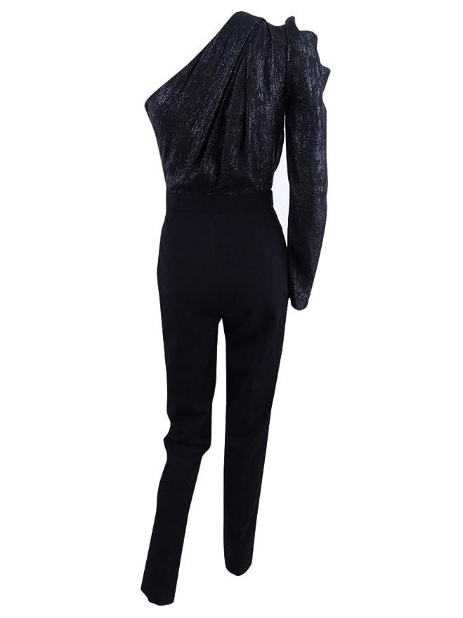 0dfc8ac680b Amazon.com  Michael Michael Kors Womens Metallic One-Shoulder Jumpsuit  Black 4  Clothing