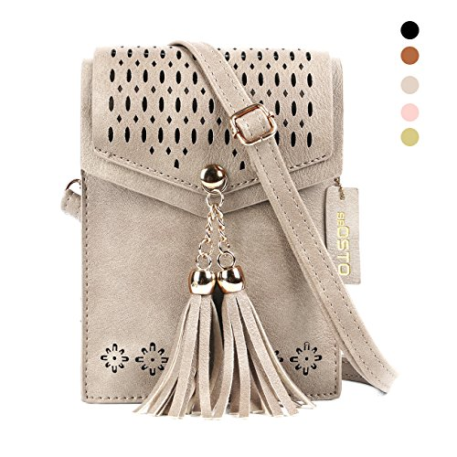 Women Small Crossbody Bag, seOSTO Tassel Cell Phone Purse Wallet Bags (Beige)