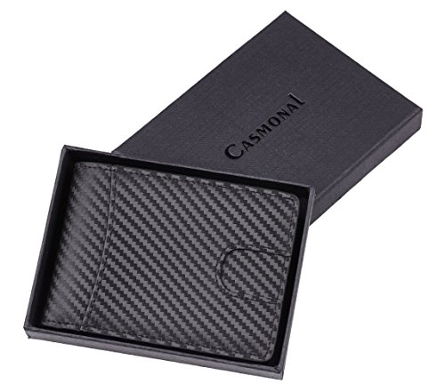 Casmonal Mens Leather Wallet Slim Front Pocket Wallet Billfold RFID Blocking (carbon fiber leather black)