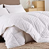 Puredown Comforter Cotton Shell 500TC-Stripe White, Full/Queen
