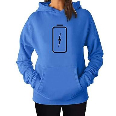 6b4f3ae9cce Amazon.com  SHUAIFA Women s Autumn Winter Sweatshirt Hoodies Hooded Battery  Charged Energy Printed Top Blouse  Clothing