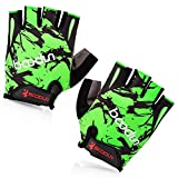 xxl cycling gloves - BOODUN Shock-Absorbing Foam Pad Breathable Half Finger Cycling Gloves, Green, XX-Large