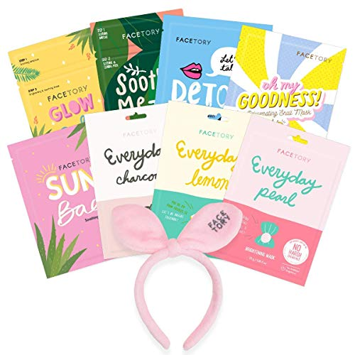 FaceTory Oily Skin Type Sheet Mask Collection- Bow Bunny Hairband with 8 Facial Sheet Masks for Hydrating, Balancing, Oil Controlling, Clarifying