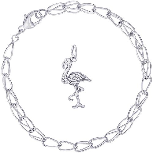 Rembrandt Charms Sterling Silver Flamingo Charm on a Double Twist Bracelet, 7