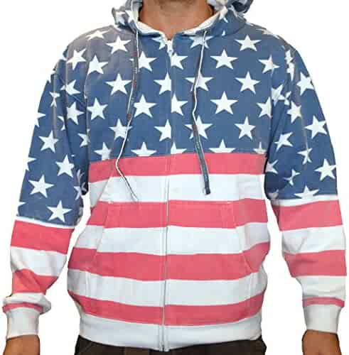 5ae0509c4 Licensed-Mart Originals Unisex Proud American Flag Zip Up Hoodie Sweatshirt
