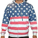 (US) Unisex Proud American Flag Zip Up Hoodie Sweatshirt 4022 Red/White/Blue M