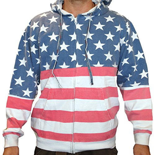 Unisex Proud American Flag Zip Up Hoodie Sweatshirt 4022 Red/White/Blue L
