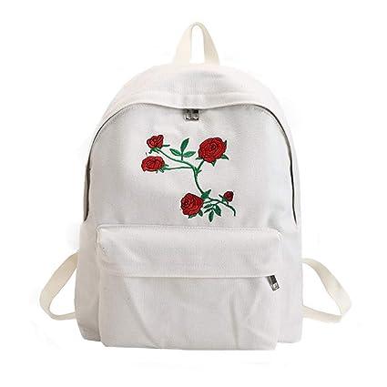 Amazon.com   GMYANSJB Harajuku Rose Embroidery Backpack White Black ... 00605c368