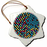 Ornaments to Paint Anne Marie Baugh - Dots - Bold Blue, Red, Orange, Green, Pink Dots On Black -