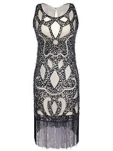 Sequined Beaded Embellishment Art Deco Paisley Flapper Dress Black XL ()