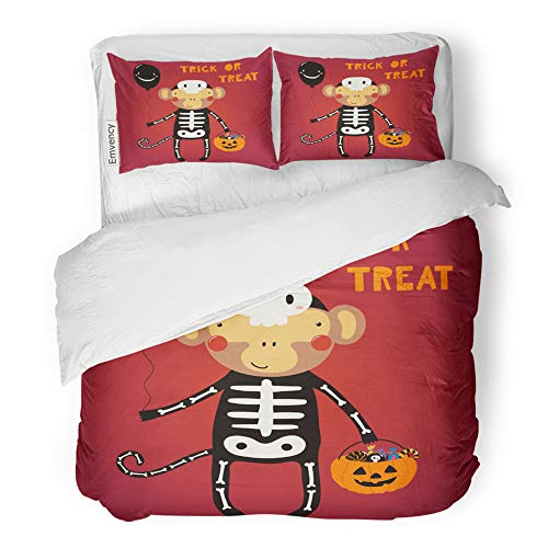Emvency 3 Piece Duvet Cover Set Brushed Microfiber Fabric Breathable Cute Funny Monkey in Skeleton Costume Text Trick Treat Scandinavian Flat Bedding Set with 2 Pillow Covers Twin Size]()