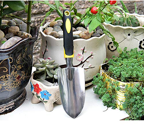 Garden Shovel Trowel & Hand Shovel Soft Rubberized Non-Slip Ergonomic Handlewith, Best for Transplanting, Weeding, Moving and Smoothing Digging & Planting; Includes Burlap Sack - Gardening Gift