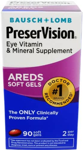 Bausch + Lomb PreserVision AREDS Eye Vitamin & Mineral Supplement Soft Gels, 90 Count Bottle