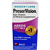Bausch + Lomb PreserVision AREDS Eye Vitamin & Mineral Supplement Soft Gels, 90 Count Bottle For Sale