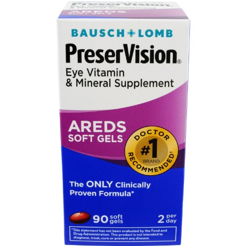 Cheap Bausch + Lomb PreserVision AREDS Eye Vitamin & Mineral Supplement Soft Gels, 90 Count Bottle