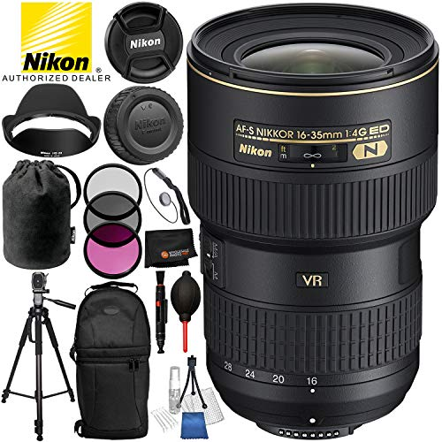 Nikon AF-S NIKKOR 16-35mm f/4G ED VR Lens with 12PC Accessory Bundle – Includes 3 Piece Filter Kit (UV + CPL + FLD) + 72…