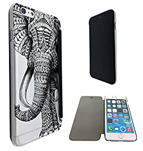 569 - Funky Aztec elephant Cool Design iphone 6 6S 4.7'' Fashion Trend Funky Smart Clear Plastic & TPU Flip Case Full Cover Purse Pouch Defender Book Case