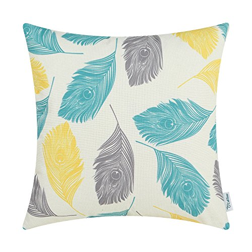 CaliTime Canvas Throw Pillow Cover Case for Couch Sofa Home Decoration Peacock Feathers 20 X 20 Inches Grey Yellow Turquoise -