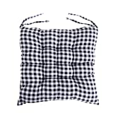 Winter Chair Cushion Dining Chair Pads Grid Chair Pads with Ties - 15 x 15 Inch (Black)